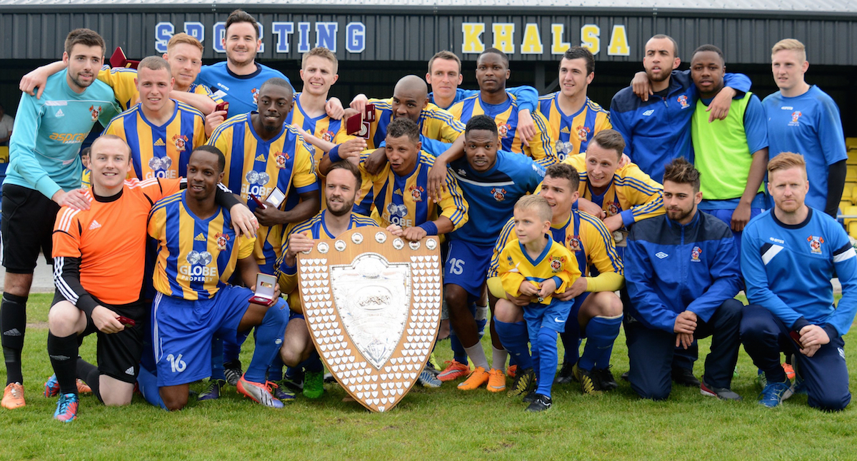 The victorious Sporting Khalsa squad with the West Midlands Regional League title (May 2015)